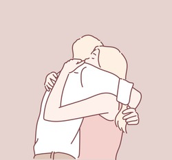 Young couple hugging. Hand drawn style vector design illustrations.