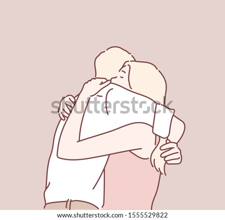 Young couple hugging. Hand drawn style vector design illustrations. Foto d'archivio ©