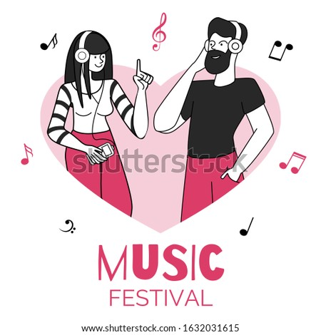 Young couple in heart shape frame vector illustration. Music festival, entertaining event. Male and female music listeners with earphones flat contour characters isolated on white background