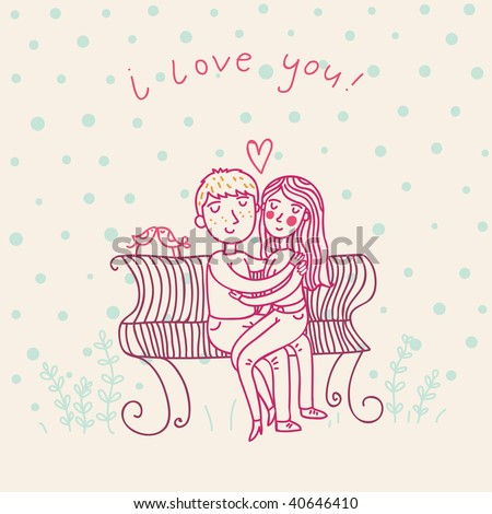cute cartoon images of love. stock vector : Young couple in love - cute cartoon illustration