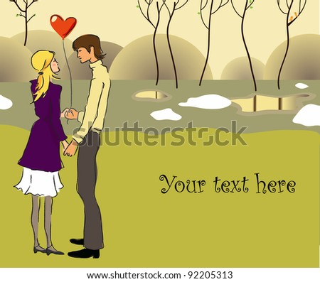 Young couple in love in a park. Vector illustration