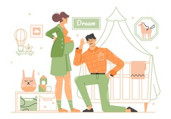 Young couple of future parents in the room for the newborn. Pregnant cute girl. Dad listens to mom's tummy. Waiting for a child. Happy people. Vector flat illustration.