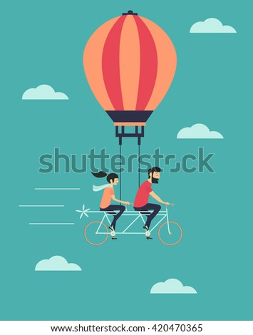 young couple on the air balloon