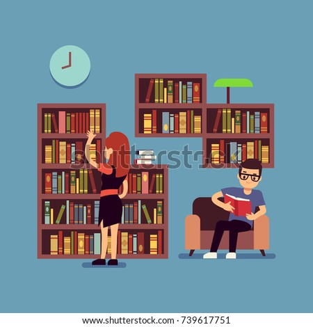 Young couple reading books - flat library or living room concept. Guy and girl read book in home, vector illustration