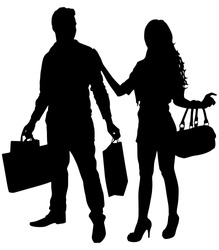 Young couple shopping and holding many shopping bags, vector