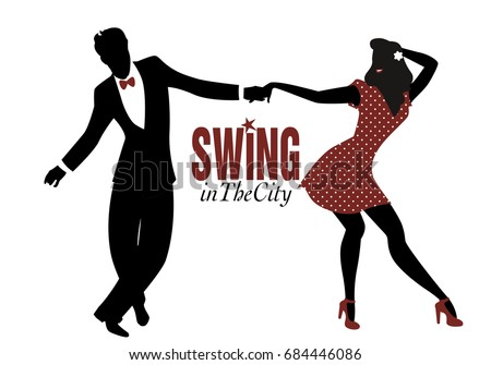 young couple silhouette dancing
