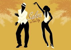 Young couple silhouettes dancing salsa or latin music. Vector illustration.