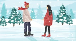 Young couple skating on ice rink outside in the park. Snow falling. Trees on background. Winter season vector