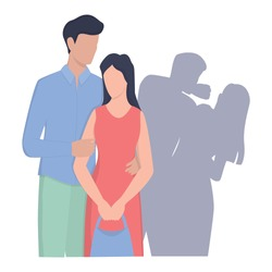 Young couple standing together but woman is threatened by husband in shadow. Male character punching woman in the face. Domestic violence and abuse concept. Isolated vector illustration