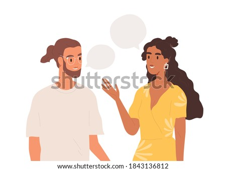 Young couple talking together. People communicating. Positive communication of multinational friends. People conversation with speech bubbles. Flat vector cartoon illustration isolated on white