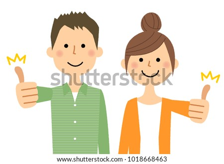 Young couple,Thumbs up