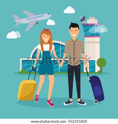 Young Couple traveling with travel bag, holding passport and tickets. Airport. Travel and tourism. Flat design modern vector illustration concept.