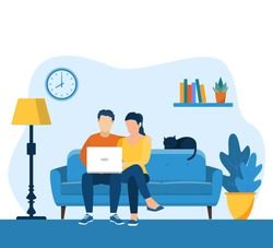 young couple using a laptop while sitting on a sofa. web page design template for online education, learning, video tutorials. Vector illustration in flat style