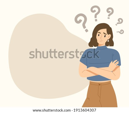 Young curious woman standing with question marks and blank space. Wondering girl. Doubt character for presentation, advertising, banner. Flat vector illustration.