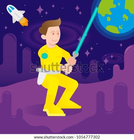 young cute cosmonaut astronaut
