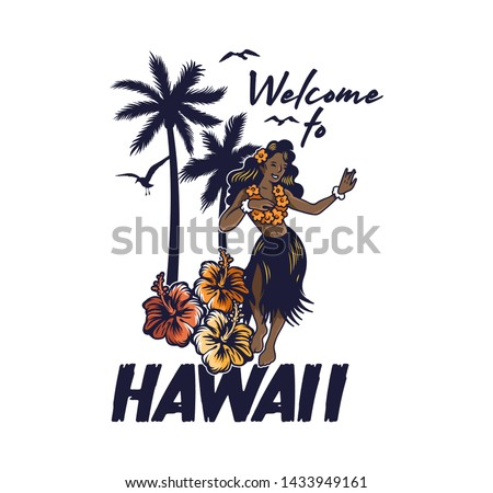 Young cute smile Hawaiian hula girl dancing on the beach luau aloha party. in lei and grass skirt Vintage fashion trendy summer print design for t-shirt poster sticker badge patch Cartoon illustration