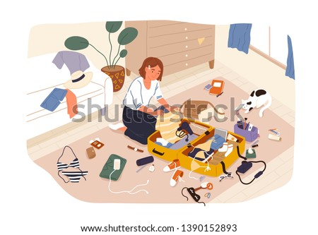 Young cute smiling girl sitting on floor and packing her suitcase or bag and preparing for trip or travel. Happy traveler getting ready for summer vacation. Flat cartoon colorful vector illustration.