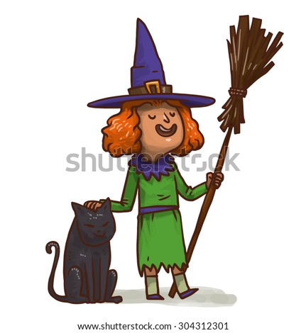 young cute witch with a broom