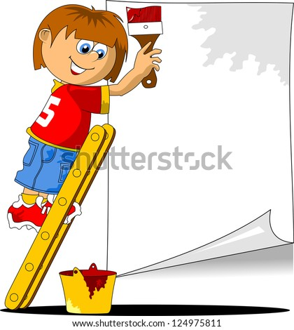 young decorator writes ad in red (vector illustration);