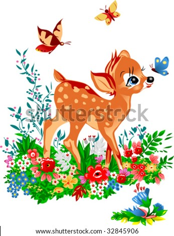 young deer costs on a glade among colours; young deer;