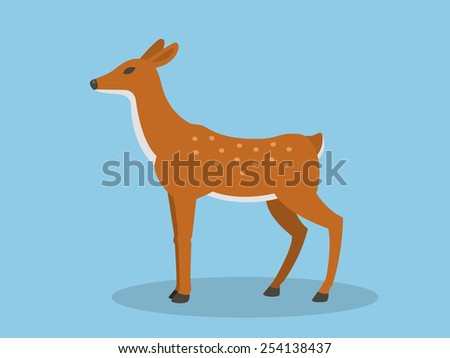 young deer in flat style