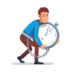 Young depressed and sad man chained to a big stopwatch timer. Holding huge clock in arms.  Modern flat style concept vector illustration isolated on white background.