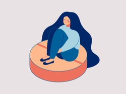 Young depressed woman is sitting on the large pill. Concept of antidepressants are saving girl from depression and about pills effect on females mood and health. Flat cartoon vector illustration.