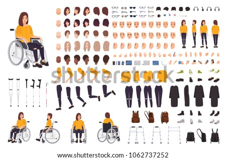 Young disabled woman in wheelchair constructor or DIY kit. Set of body parts, facial expressions, crutches, walking frame. Female cartoon character. Front, side, back views. Vector illustration. Foto stock ©