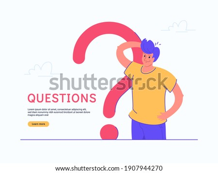 Young doubting man standing near big question symbol on white background. Flat modern concept vector illustration of people who has questions so needs qualified help, support or consultation
