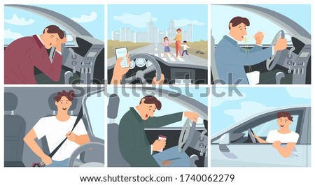Young driver character in car concept series - fastens the seat belt, sleeping, eating noodles and drinking coffee. Сollection of driving cases. Flat Art Vector Illustration Stockfoto ©