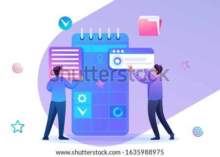 Young entrepreneurs are engaged in the preparation of business planning for the month. Flat 2D character. Concept for web design.
