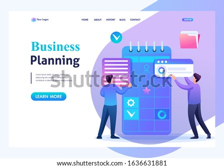 Young entrepreneurs are engaged in the preparation of business planning for the month. Flat 2D character. Landing page concepts and web design