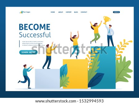 Young entrepreneurs, start up project, successful business, ladder to success. Flat 2D character. Landing page concepts and web design