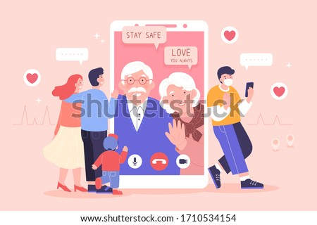 Young family having a video chat on smartphone with their grandparents and they both wishing the best for their loved ones
