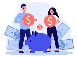 Young family investing money for future flat vector illustration. Man and woman saving finances on deposit for house. Economy and financial independence concept.