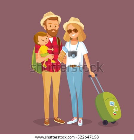 Young family traveling