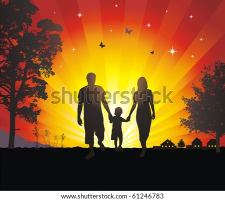 young family walking in the