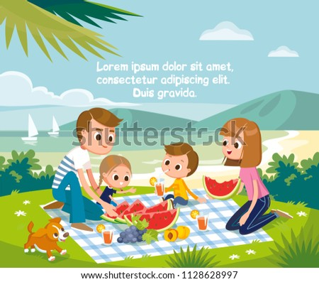young family with children and