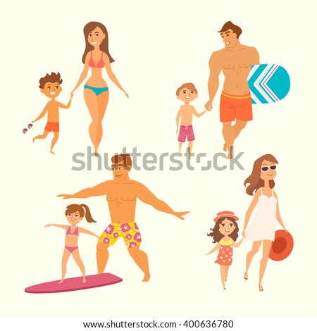 young family with kids on