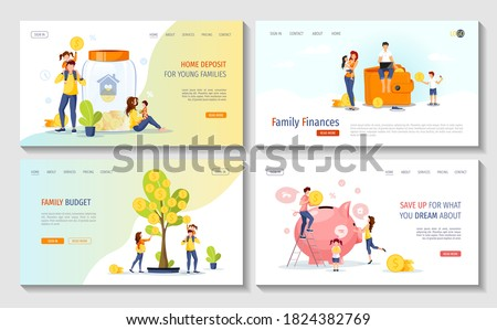 Young family with piggy bank, wallet, money tree. Profit, Money saving or accumulating, Home deposit, family budget, Family finances concept. Vector illustration. Set of web pages.