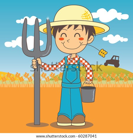 Young farmer boy working on the farm and holding a fork and a bucket.