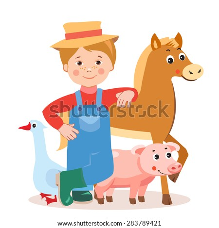 Young farmer with farm animals- horse, pig, goose . Cartoon vector illustration on a white background.