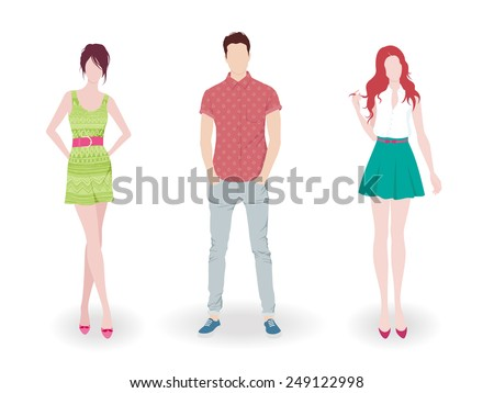Young fashion boy and two girls #249122998