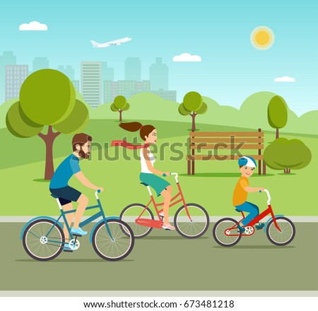 Young Father mother and  son ride the bike in the park. Active family  riding on bicycles in the park. Flat vector illustration