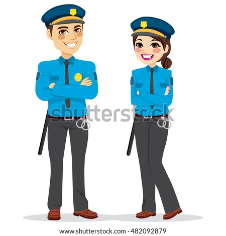 young female and male police