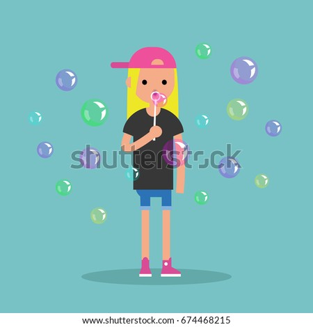 Young female character blowing soap bubbles / flat editable vector illustration, clip art #674468215