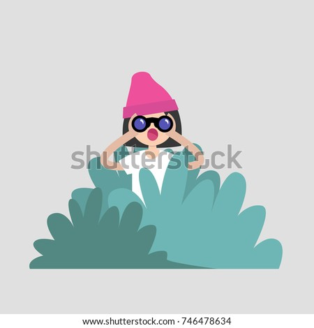 young female character hiding