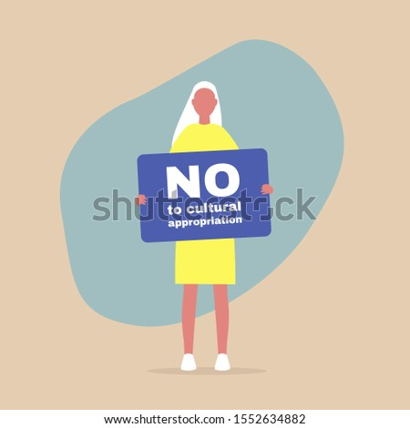 """Young female character holding a """"no to cultural appropriation"""" banner, colonialism and minority cultures"""