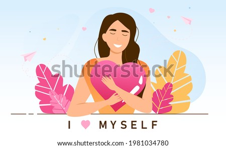 Young female character is practicing self love. Personal confidence. Concept of psychological mindset and life attitude as pride, appreciation and acceptance feeling. Flat cartoon vector illustration Photo stock ©