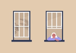 Young female character looking out the window, self-isolation and boredom, quarantine